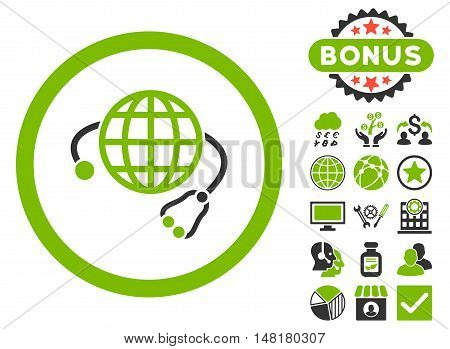 Global Medicine icon with bonus symbols. Vector illustration style is flat iconic bicolor symbols, eco green and gray colors, white background.