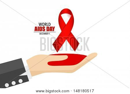 AIDS Awareness red ribbon. World AIDS Day. 1st December World Aids Day poster. Vector illustration.