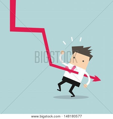 Down graph fall to Businessman. vector illustration