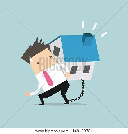 Businessman carry his house debt with chained on ankle. Financial concept vector.