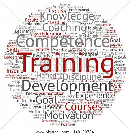 Vector concept or conceptual training, coaching or learning, circle word cloud isolated on background