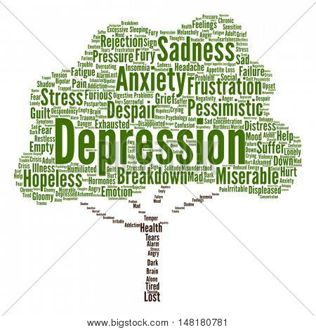 Vector concept conceptual depression or mental emotional disorder abstract tree word cloud isolated on background