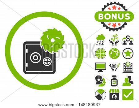 Hacking Theft icon with bonus elements. Vector illustration style is flat iconic bicolor symbols, eco green and gray colors, white background.
