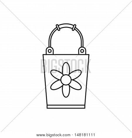 Garden bucket icon in outline style isolated on white background vector illustration