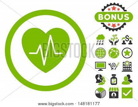 Heart Ekg icon with bonus elements. Vector illustration style is flat iconic bicolor symbols, eco green and gray colors, white background.