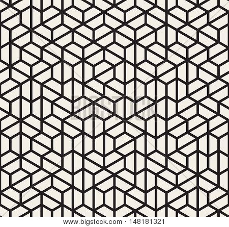 Vector Seamless Black and White Irregular Hexagonal Grid Pattern. Abstract Geometric Background Design
