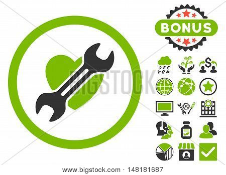 Heart Surgery icon with bonus elements. Vector illustration style is flat iconic bicolor symbols, eco green and gray colors, white background.
