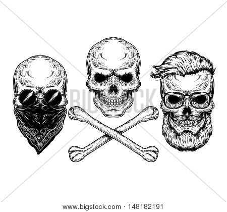 Collection of vector illustrations of skulls and crossbones, engraving. Print for T-shirts