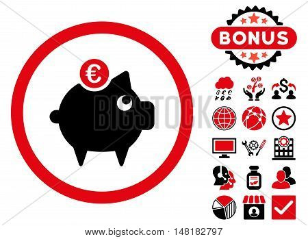 Euro Piggy Bank icon with bonus pictures. Vector illustration style is flat iconic bicolor symbols, intensive red and black colors, white background.