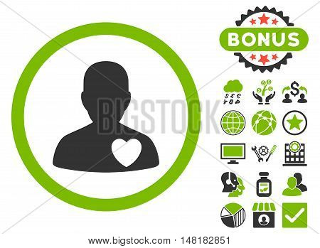 Cardiology Patient icon with bonus images. Vector illustration style is flat iconic bicolor symbols, eco green and gray colors, white background.