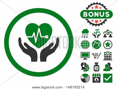 Cardiology icon with bonus design elements. Vector illustration style is flat iconic bicolor symbols, green and gray colors, white background.