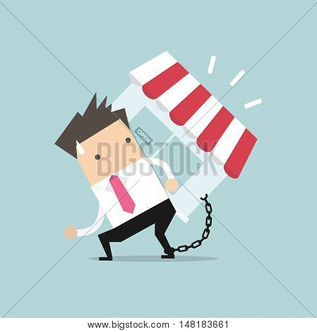 Businessman carry his shop debt with chained on ankle. Financial concept vector.