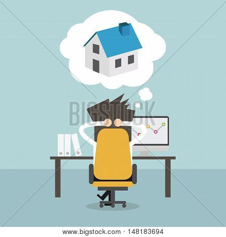 Businessman dreaming about house in office. Vector