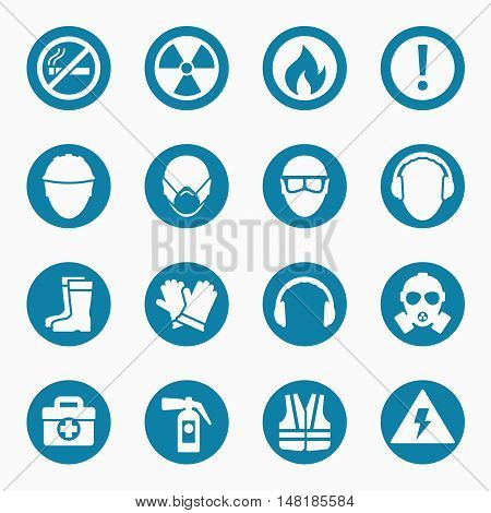 Occupational health icons and occupational safety signs. Protective helmet goggles and footwear from radiation. Vector illustration