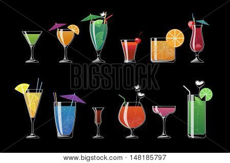 Alcohol drinks and beach cocktails isolated on black background. Alcohol cocktail with ice, illustration, alcohol cold beverage for beach