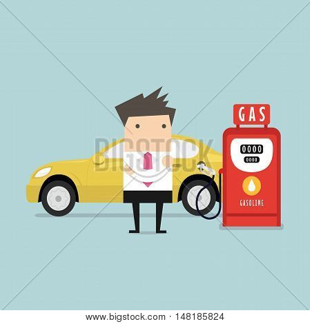 Gas station and businessman waiting. Vector illustration