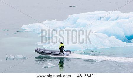 JOKULSARLON ICELAND - July 21 2016: Boat adventure on Jokulsarlon glacier lake on July 21 2016.