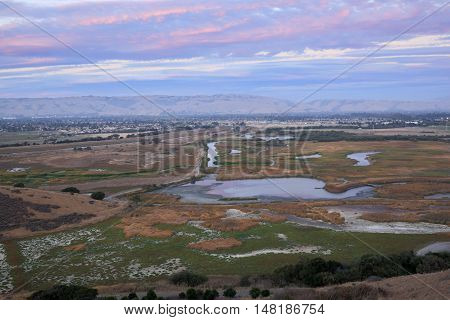 Sunset over Coyote Hills Regional Park, Fremont, California, USA. Pink Skies and Marshland of San Francisco Bay Summer