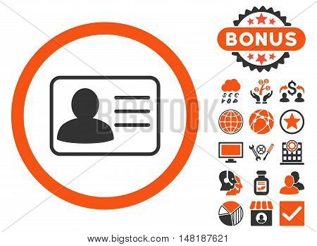 Account Card icon with bonus elements. Vector illustration style is flat iconic bicolor symbols, orange and gray colors, white background.