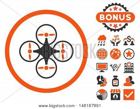 Air Copter icon with bonus images. Vector illustration style is flat iconic bicolor symbols, orange and gray colors, white background.