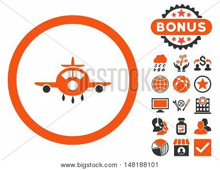 Aircraft icon with bonus design elements. Vector illustration style is flat iconic bicolor symbols, orange and gray colors, white background.
