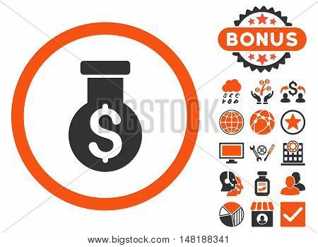 Alchemy icon with bonus symbols. Vector illustration style is flat iconic bicolor symbols, orange and gray colors, white background.