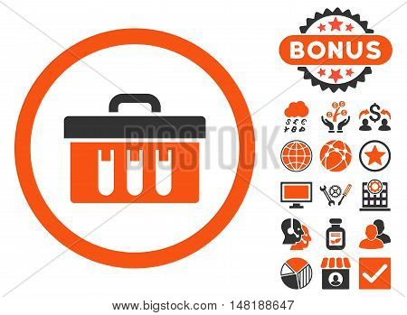 Analysis Box icon with bonus pictures. Vector illustration style is flat iconic bicolor symbols, orange and gray colors, white background.