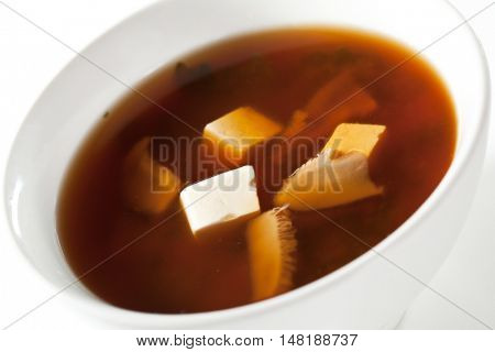 Japanese Cuisine - Miso Soup with Seaweed and Tofu Cheese
