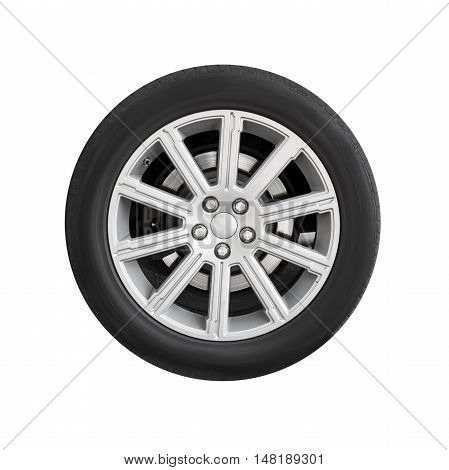 New Automotive Wheel On Light Alloy Disc Isolated