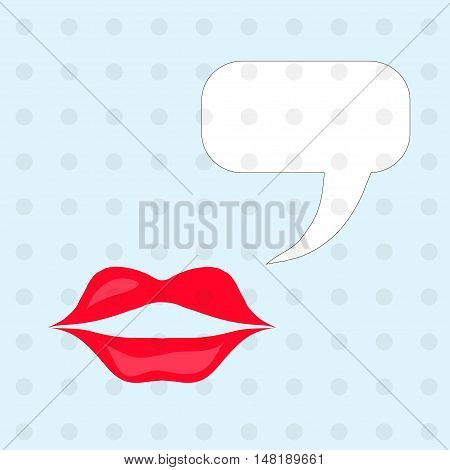Saying mouth vector illustrations. Red lips, white window on points blue background