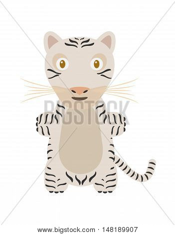 White tiger illustration as a funny character. Wild and dangerous animal. Small cartoon creature isolated object in flat design on white background.