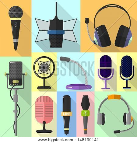 Set of different icons with microphones. Mic for broadcast and interview, music studio and vocal microphones. Symbols of record and sound and audio. Flat style. Vector illustration isolated