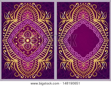 Vintage invitation  cards with Floral mandala pattern and ornaments. Flyer oriental design. Front page and back page.
