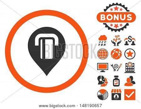 Atm Map Marker icon with bonus design elements. Vector illustration style is flat iconic bicolor symbols, orange and gray colors, white background.