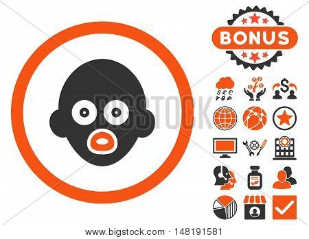 Baby Head icon with bonus elements. Vector illustration style is flat iconic bicolor symbols, orange and gray colors, white background.