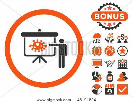 Bacteria Lecture icon with bonus pictogram. Vector illustration style is flat iconic bicolor symbols, orange and gray colors, white background.