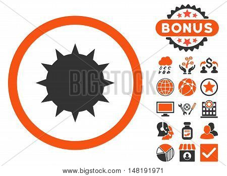 Bacterium icon with bonus symbols. Vector illustration style is flat iconic bicolor symbols, orange and gray colors, white background.
