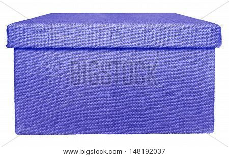 Closed violet box wrapped by burlap canvas isolated on a white background. Clipping path included.