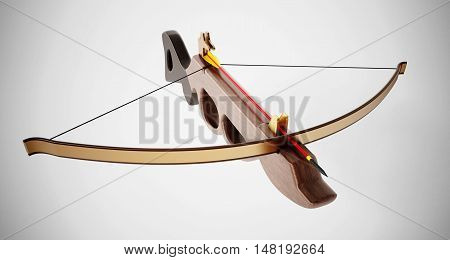 Vintage crossbow isolated on white background. 3D illustration.