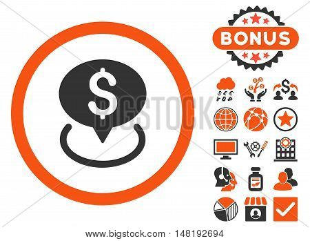 Bank Location icon with bonus elements. Vector illustration style is flat iconic bicolor symbols, orange and gray colors, white background.