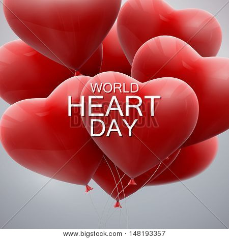 World Heart Day Background. Realistic red balloon hearts with World Heart Day label. Vector illustration. Medical awareness day concept