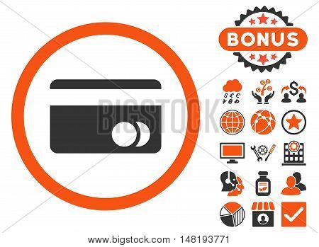 Banking Card icon with bonus design elements. Vector illustration style is flat iconic bicolor symbols, orange and gray colors, white background.