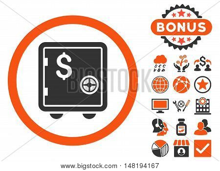 Banking Safe icon with bonus pictogram. Vector illustration style is flat iconic bicolor symbols, orange and gray colors, white background.