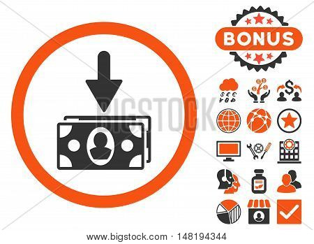 Banknotes Income icon with bonus symbols. Vector illustration style is flat iconic bicolor symbols, orange and gray colors, white background.
