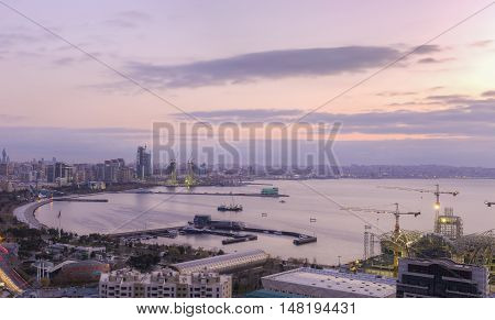Panorama Baku at sunrise Azerbaijan Baku background