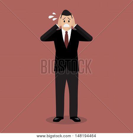 Stressed business man. vector illustration cartoon concept