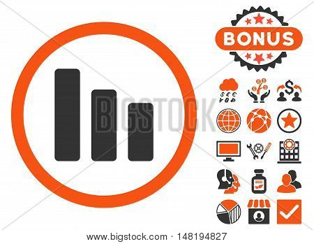 Bar Chart Decrease icon with bonus images. Vector illustration style is flat iconic bicolor symbols, orange and gray colors, white background.