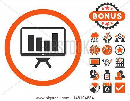 Bar Chart Monitoring icon with bonus pictogram. Vector illustration style is flat iconic bicolor symbols, orange and gray colors, white background.