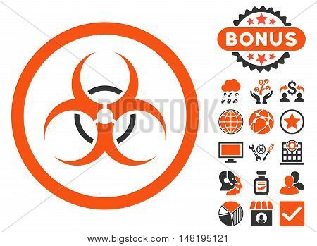 Bio Hazard icon with bonus symbols. Vector illustration style is flat iconic bicolor symbols, orange and gray colors, white background.