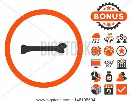 Bone icon with bonus symbols. Vector illustration style is flat iconic bicolor symbols, orange and gray colors, white background.
